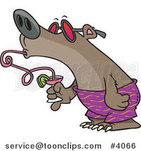 Cartoon Summer Bear Drinking a Beverage Through a Twisty Straw by Toonaday