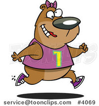 Cartoon Female Bear Jogging by Ron Leishman