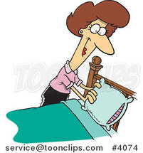 Cartoon Lady Making a Bed by Ron Leishman