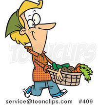Cartoon Lady Carrying a Harvest Basket by Ron Leishman