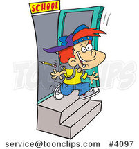 Cartoon School Boy Running out the Door by Ron Leishman
