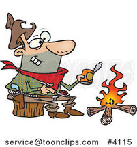 Cartoon Cowboy Baking Beans over a Camp Fire by Toonaday