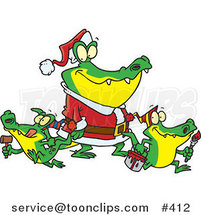 Cartoon Alligator Santa with Little Gator Elves by Ron Leishman