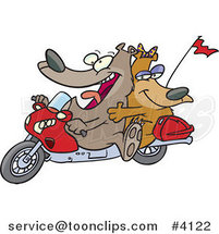 Cartoon Bear Couple on a Motorcycle by Toonaday