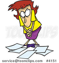 Cartoon Berated Business Woman Standing over Papers by Ron Leishman