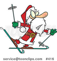 Cartoon Nervous Santa Skiing by Ron Leishman
