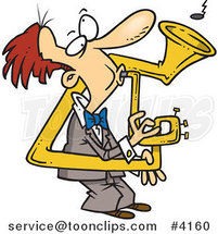Cartoon Guy Playing a Bent Sousaphone by Toonaday