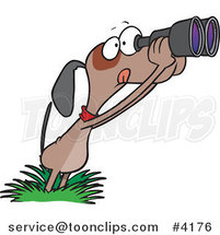 Cartoon Bird Dog Using Binoculars by Ron Leishman