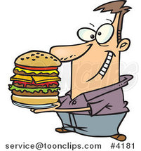 Cartoon Guy Holding a Big Burger by Toonaday