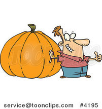 Cartoon Guy with a Big Pumpkin by Ron Leishman