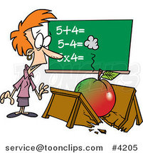 Cartoon Big Apple Crushing a Teacher's Desk by Ron Leishman