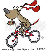 Cartoon Cycling Dog by Ron Leishman
