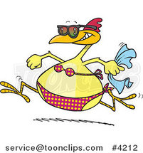 Cartoon Summer Chicken Running in a Bikini on a Beach by Toonaday