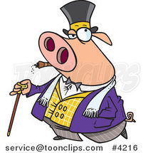 Cartoon Pig Smoking a Cigar and Walking with a Cane by Toonaday