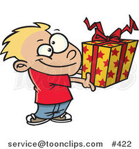 Cartoon Boy Holding a Gift Box by Ron Leishman