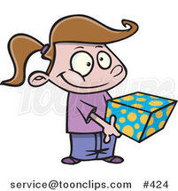 Cartoon Sweet Girl Holding a Gift Box by Ron Leishman