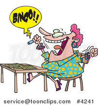 Cartoon Lady Shouting Bingo by Toonaday