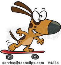 Cartoon Dog Skateboarding by Ron Leishman