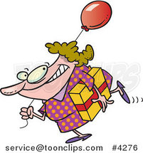 Cartoon Lady Carrying a Birthday Gift and Balloon by Ron Leishman