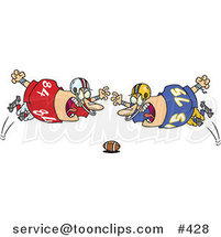 Cartoon Football Players Diving Towards the Ball by Ron Leishman