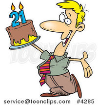 Cartoon Birthday Guy Holding up a Cake by Ron Leishman