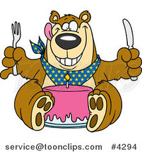 Cartoon Birthday Bear Eating Cake by Ron Leishman