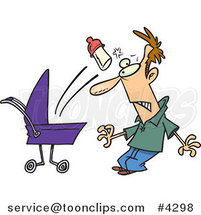 Cartoon Baby Throwing a Bottle at Its Father by Ron Leishman