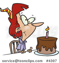 Cartoon Birthday Lady with a Cake by Ron Leishman