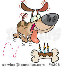 Cartoon Birthday Dog with a Bone Cake by Ron Leishman
