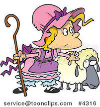 Cartoon Little Bo Peep with a Sheep by Ron Leishman