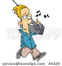 Cartoon Guy Carrying a Boom Box by Ron Leishman