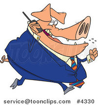 Cartoon Big Pig Business Man Talking on a Cell Phone by Toonaday