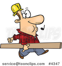 Cartoon Carpenter Whistling and Carrying a Board by Ron Leishman