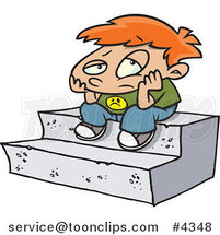 Cartoon Bored Boy Sitting on Steps by Ron Leishman
