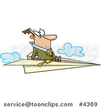 Cartoon Business Man Flying on a Paper Airplane by Ron Leishman