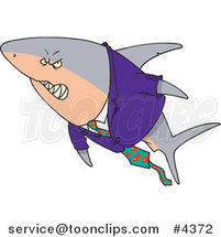 Cartoon Business Shark in a Suit by Ron Leishman