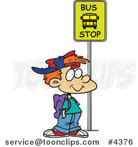 Cartoon Boy Waiting at a School Bus Stop by Ron Leishman