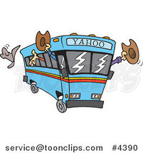 Cartoon Yahoo Bus Loaded with Cowboys by Ron Leishman