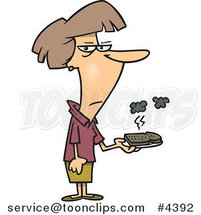 Cartoon Lady Holding a Burnt Piece of Toast by Toonaday