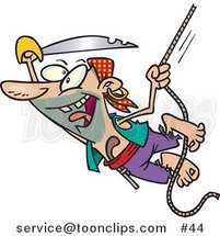 Cartoon Pirate with a Sword Swinging on a Rope by Toonaday