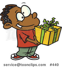 Cartoon Black Boy Holding a Gift Box by Ron Leishman