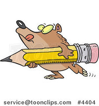 Cartoon Bear Carrying a Pencil by Toonaday