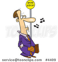 Cartoon Business Man Whistling at a Bus Stop by Ron Leishman