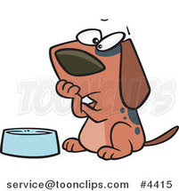 Cartoon Hungry Dog Watching His Bowl by Ron Leishman