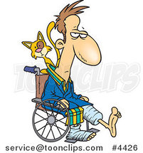 Cartoon Cat Behind a Guy with Broken Limbs in a Wheelchair by Ron Leishman