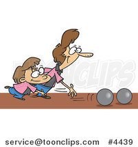 Cartoon Mother and Daughter Bowling by Ron Leishman