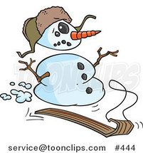 Cartoon Sledding Snowman by Toonaday