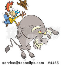 Cartoon Cowboy Riding a Giant Bull by Toonaday