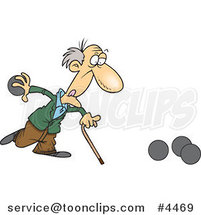 Cartoon Old Guy Playing Bowls by Toonaday