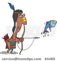 Cartoon Native American Guy Bow Fishing by Ron Leishman
